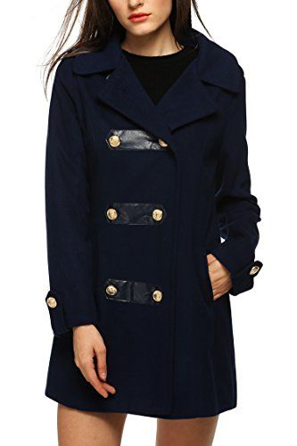 Finejo Winter Women Slim Wool Blend Lapel Long Sleeve Doublebreasted Pea Coat Navy Blue Medium ** Check out the image by visiting the link.