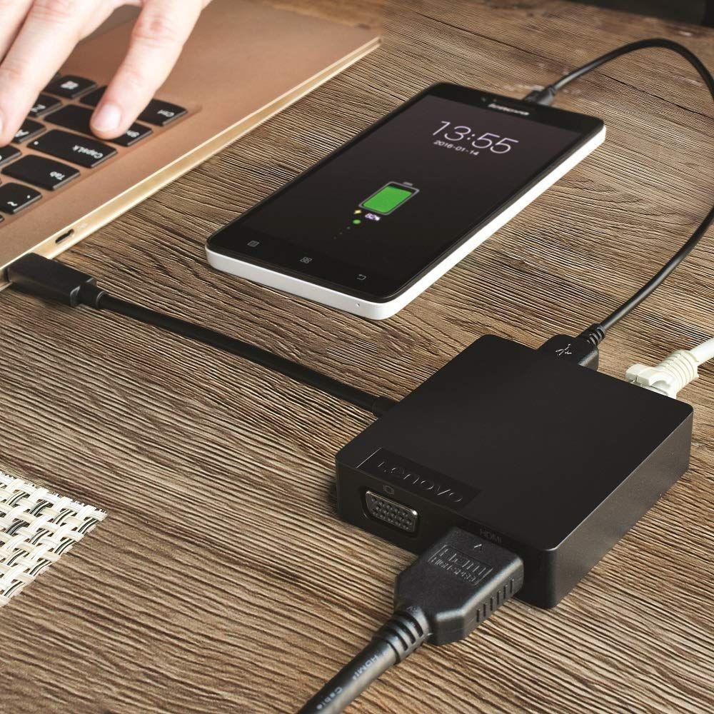 Lenovo USB-C 4 in 1 Travel Docking Station with HDMI, VGA, USB 3 0