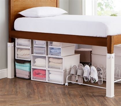 Suprima Ultimate Height Bed Risers Carbon Steel White Classy