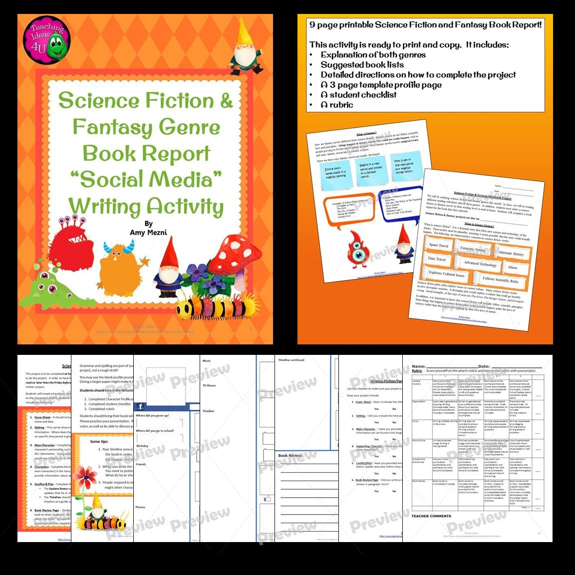 Science Fiction Fantasy Genre Book Report Profile Page Project Amp Rubric
