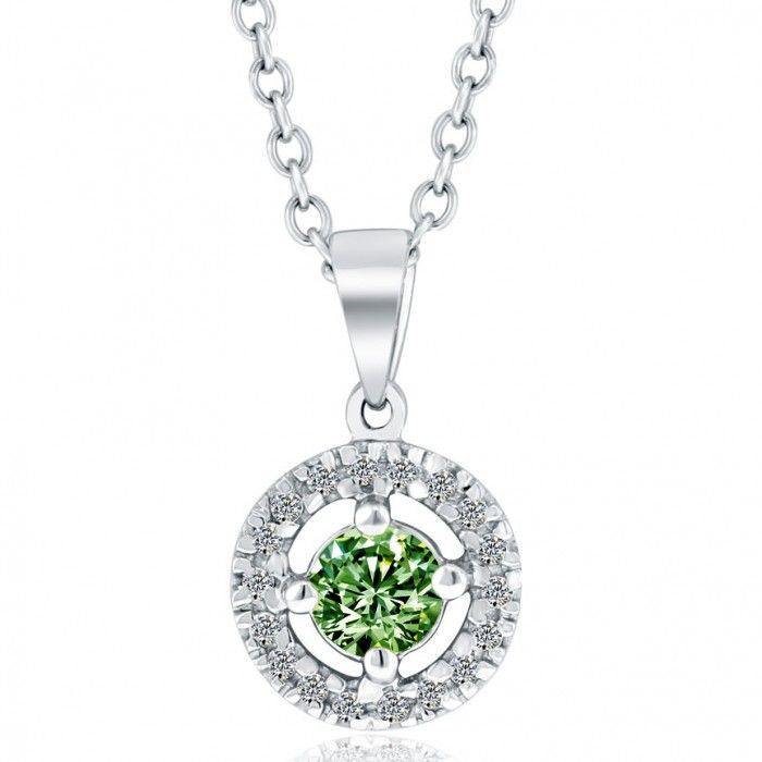 afcba775b5c7 0.75 Carat Fancy Green Diamond Pendant Necklace 18k White Gold Pave Halo -  Fancy Color Pendants