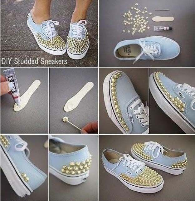 Cool Diy Fashion Ideas Diy Shoes Studded Sneakers Diy Sneakers