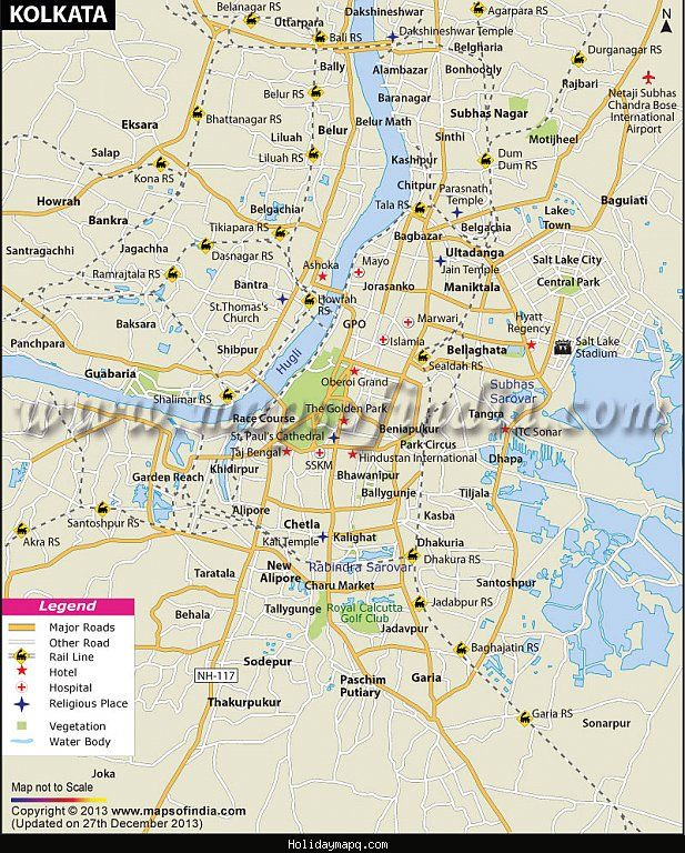 cool Kolkata Map Tourist Attractions Holidaymapq