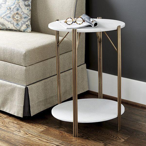 Ballard Designs Jordan Marble Side Table $299 ❤ liked on Polyvore