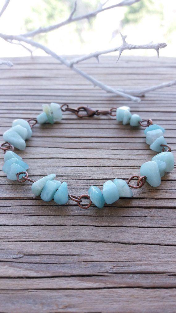 Photo of Amazonite bracelet Chip gemstone jewelry Blue stone bracelet Everyday bracelet Amazonite jewelry Womens gift Natural bracelet Birthday gift