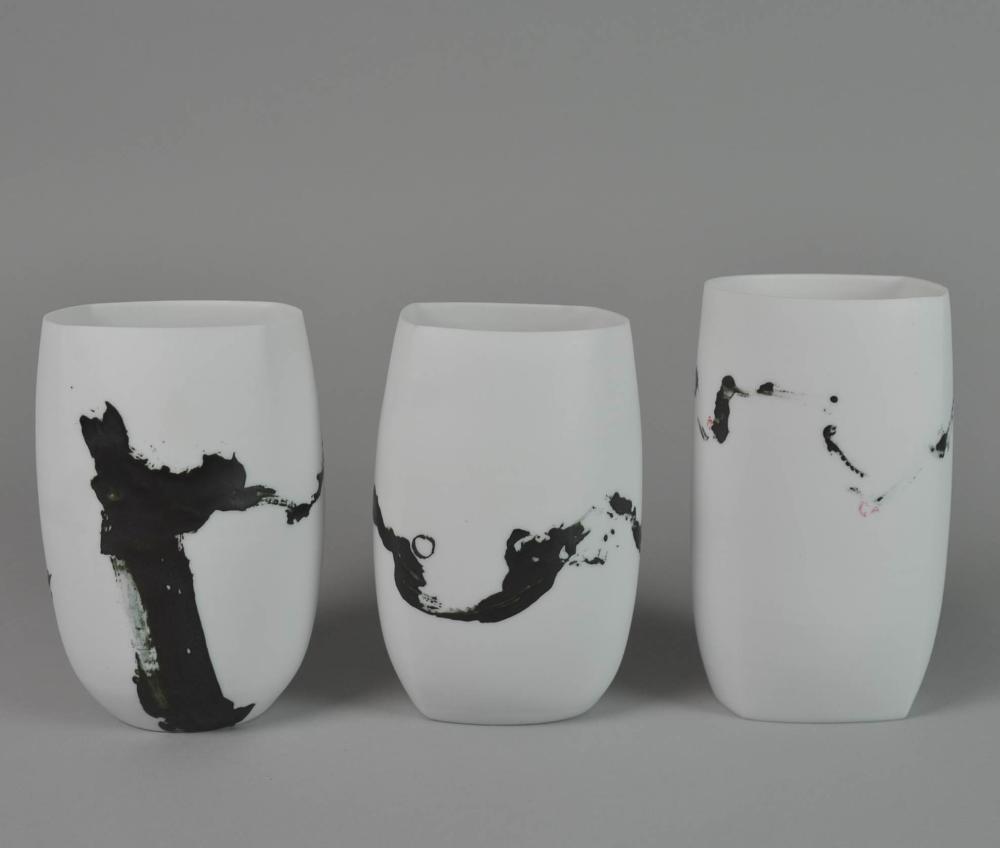 Karin Bablok Drei Bechervasen Bemalt Ceramic Vessel Contemporary Ceramics Ceramic Pottery