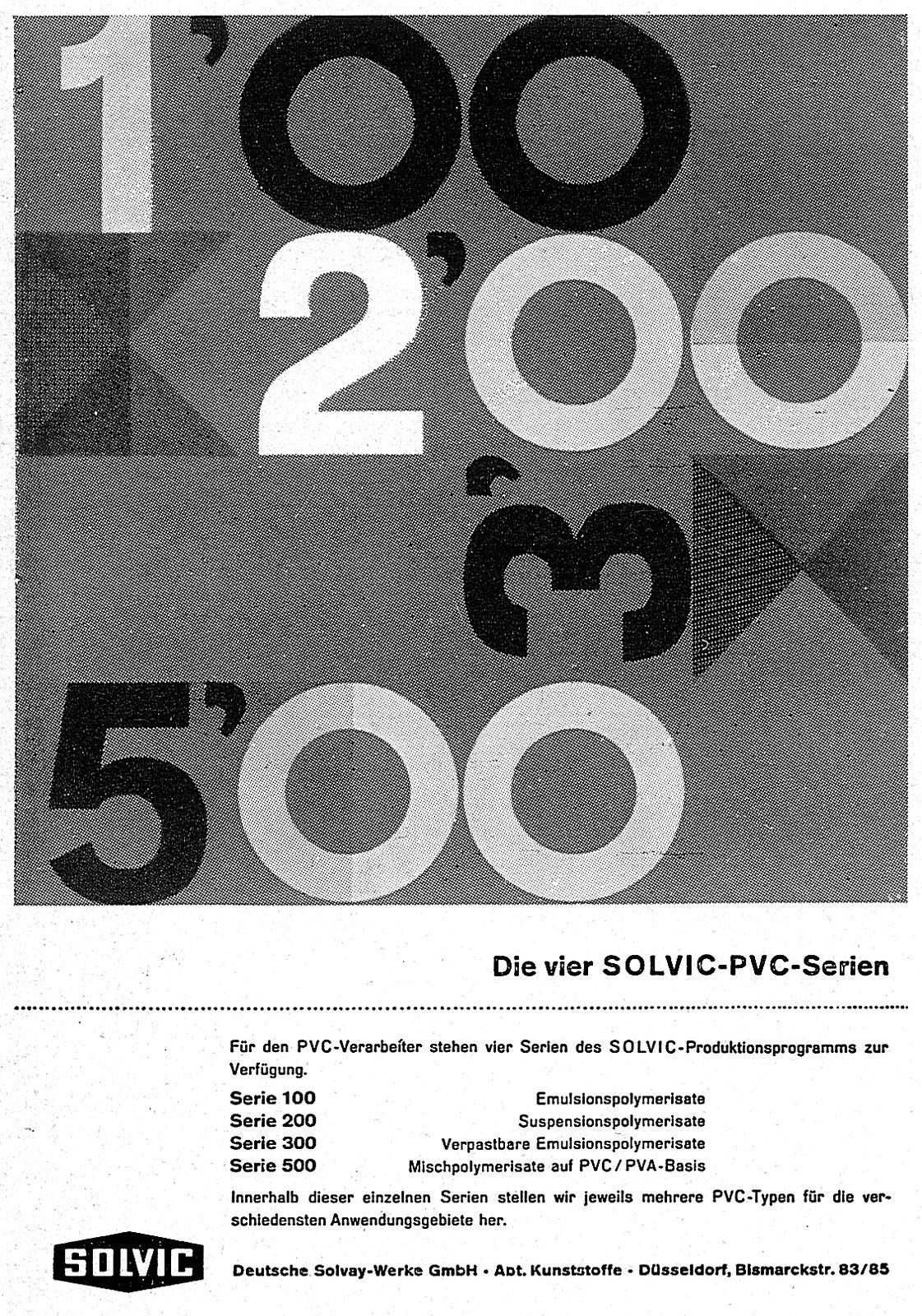 Boes (F.G., DE) um 1959 Die vier Solvic-PVC-Serien (Deutsche Solvay-Werke GmbH Düsseldorf) Anzeige | by ideenstadt