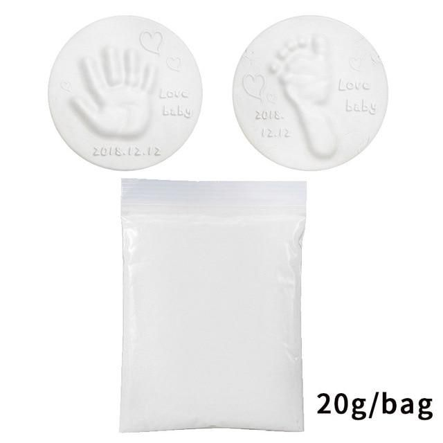 Soft Clay DIY Newborn Baby Souvenirs Hand Print Footprint Non-Toxic Clay Kit Casting Parent-Child Hand Ink Pad Fingerprint Toys - white clay