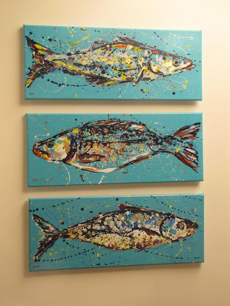 Felix murillo lleno de colores painting acrylic artwork fish art - 3 Fish Par Abiwh Ocean Paintingsanimal