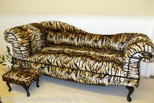 Tiger animal print chaise longue 6ft double ended sofa for Animal print chaise longue