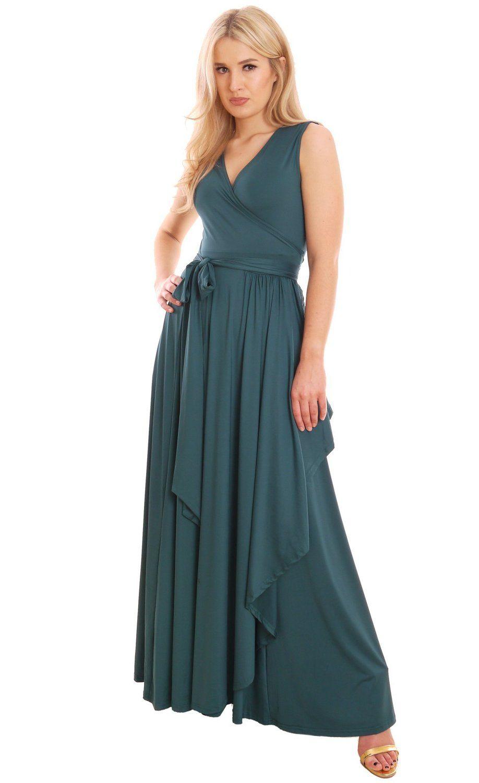 Elegantes Damenkleid Lang Sommer Maxikleid Wickelkleid Emerald von