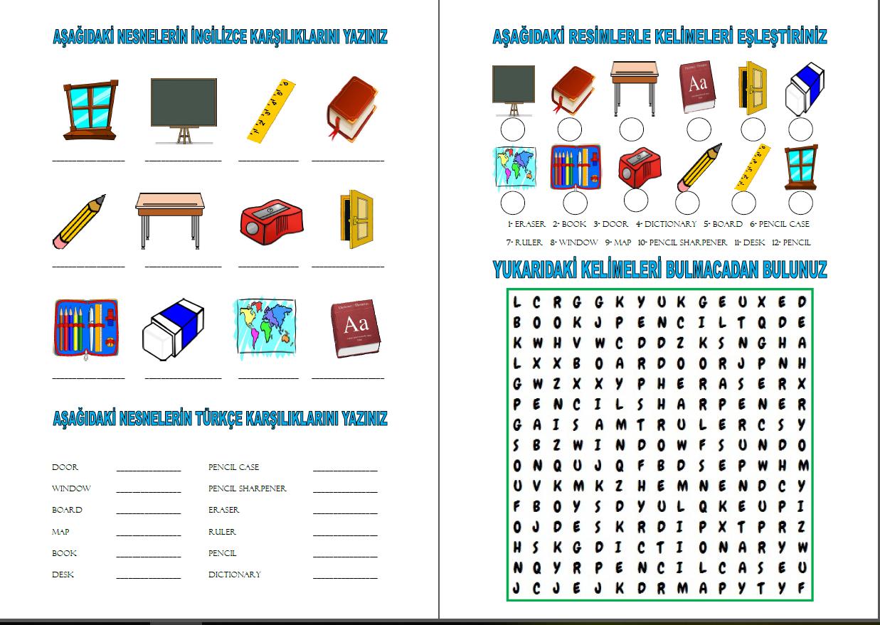 4 1 Classroom Objects Worksheet By Sefa Yalcin