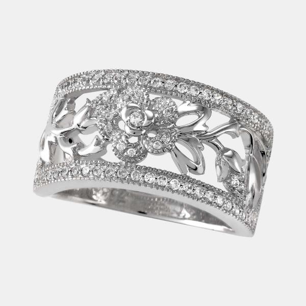 Rose Scroll Diamond Ring 14Kt White Gold