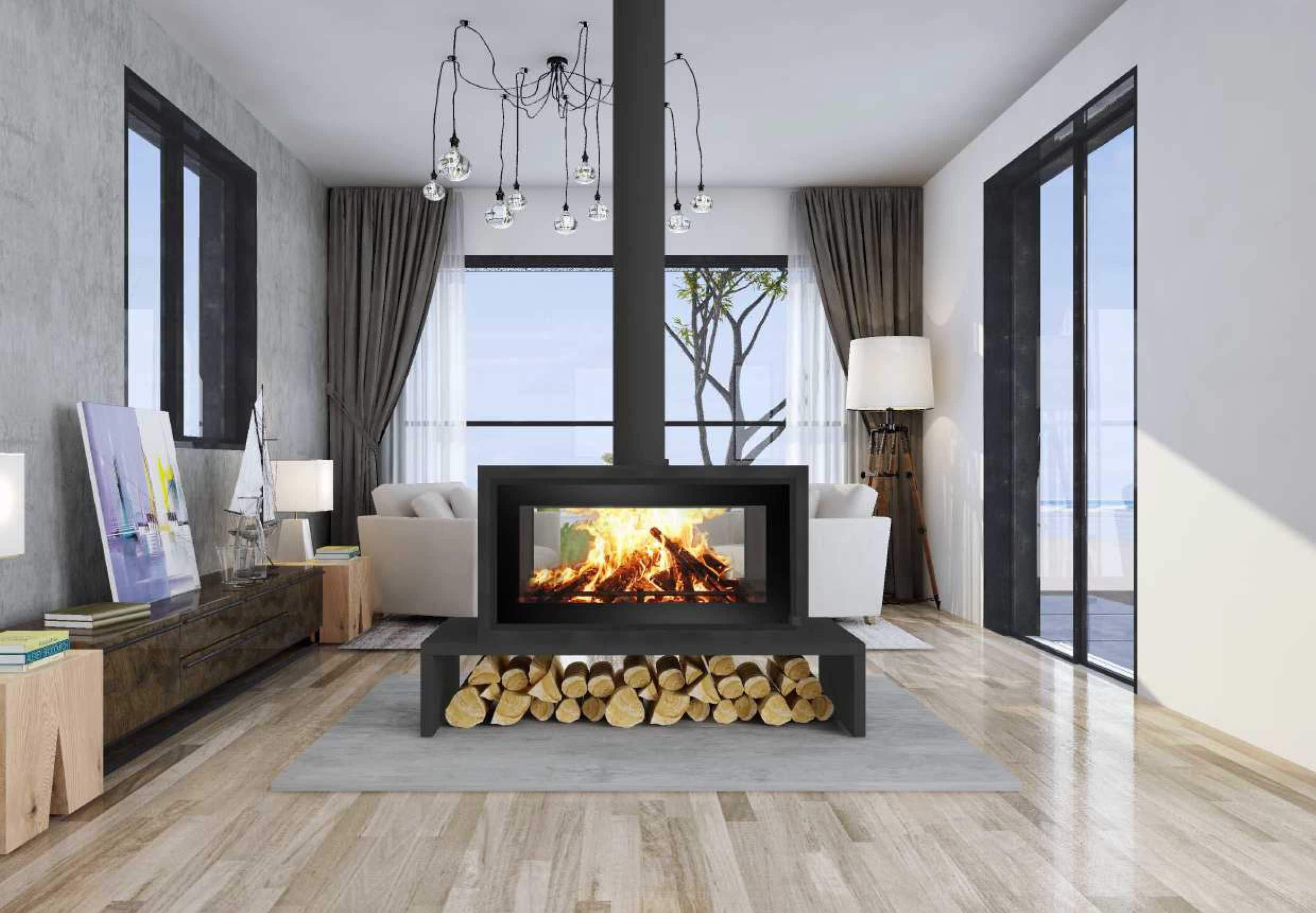 P11 Landscape Free Standing Double Sided Fireplace Cape Town Freestanding Fireplace Home Fireplace Cottage Fireplace