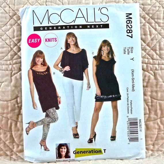 M6287 McCALLS Uncut PATTERN 2001 Women Pullover Knit Wide Neck Top Tunic Dress Unfinished Edges Variations Bands Size 4 6 8 10 12 14 2-oz