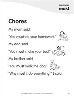 Chores (Sight Word \'must\'): Super Sight Words Poem | Kindergarten ...