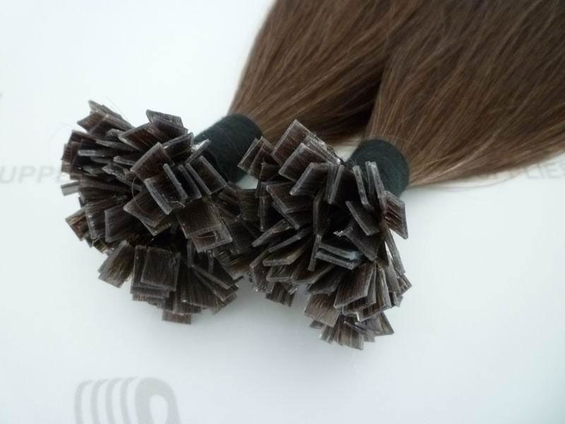 Flat tip hair extensions with cuticle remy hair and pre-bonded keratin, 18 inches long, color 4#.