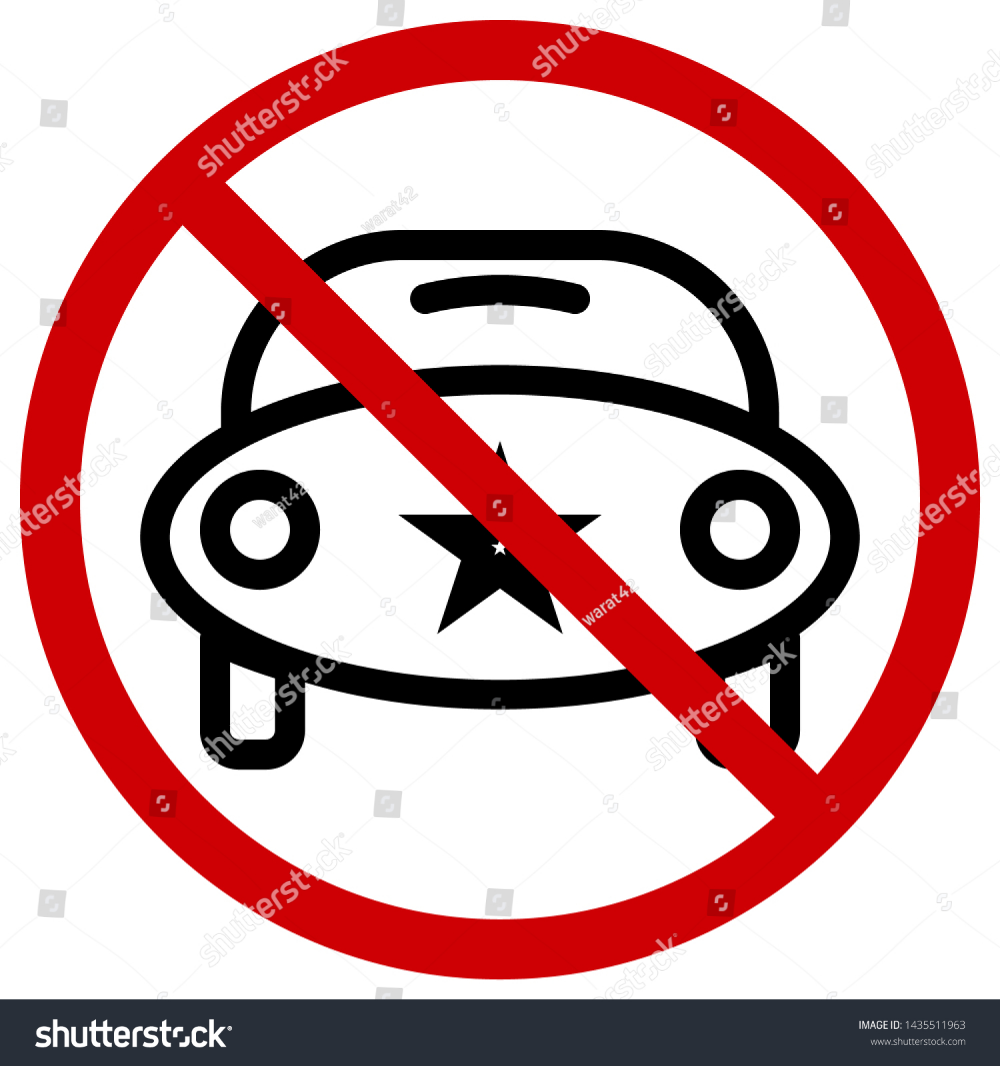 Red Circle Prohibition Signs For No Cars Icons Of The Future Or Cartoon Editable Stroke Vector Illustration Car Icons Vector Circle