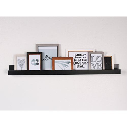 Modern Picture Ledge For Photo Frames Floating Wall Shelf Spice Rack Low Raised Edge 46 Inches Dar Floating Wall Shelves Wall Shelf Decor Picture Frame Shelves