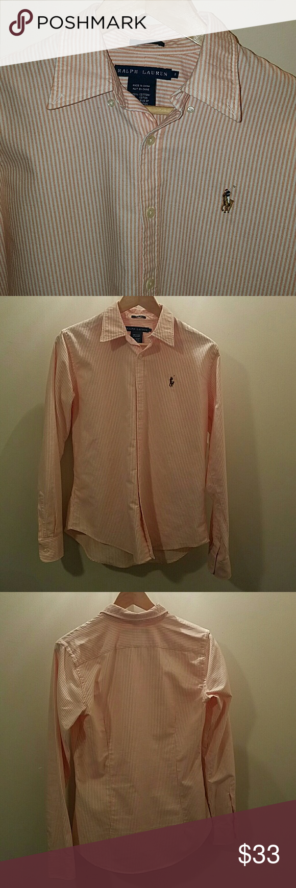 Polo button down Orange/peach and white stripe Oxford from ralph lauren.  Worn a few times.  Pearl buttons.  Great condition, they don't make this color any more. Slim fit, so it's tailed along the waist for a feminine fit Ralph Lauren Tops Button Down Shirts