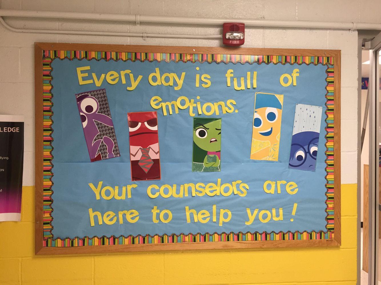 Inside out counselor bulletin board counseling for Family display board ideas
