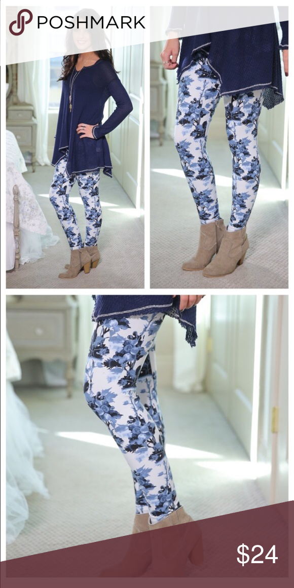 2ab69776ff814 Blue Floral Leggings Blue/Black/White floral print leggings are a super  soft brushed knit style. One size fits most! (Fits sizes Small - Large.