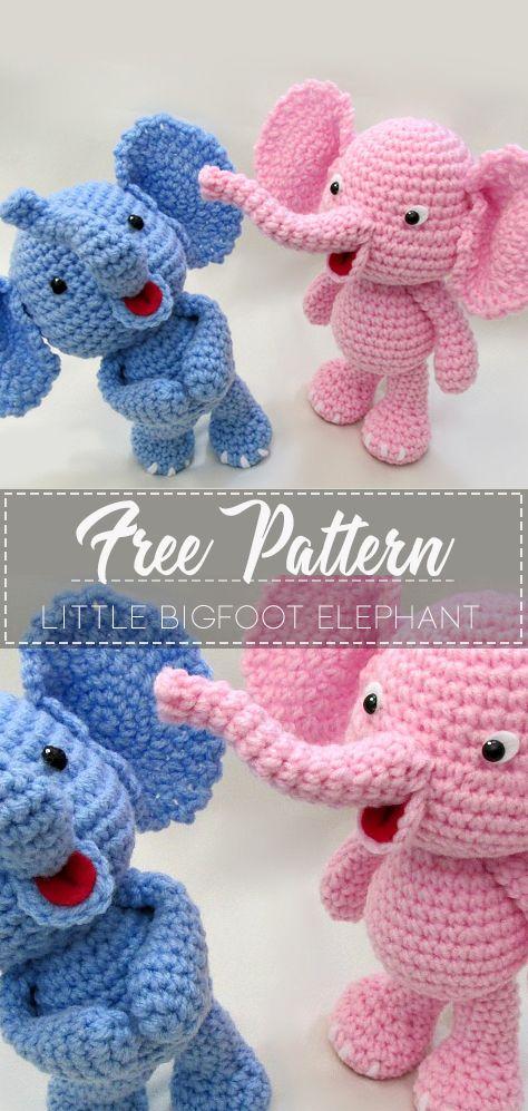 Little Bigfoot Elephant – Pattern Free  #crochetelephantpattern