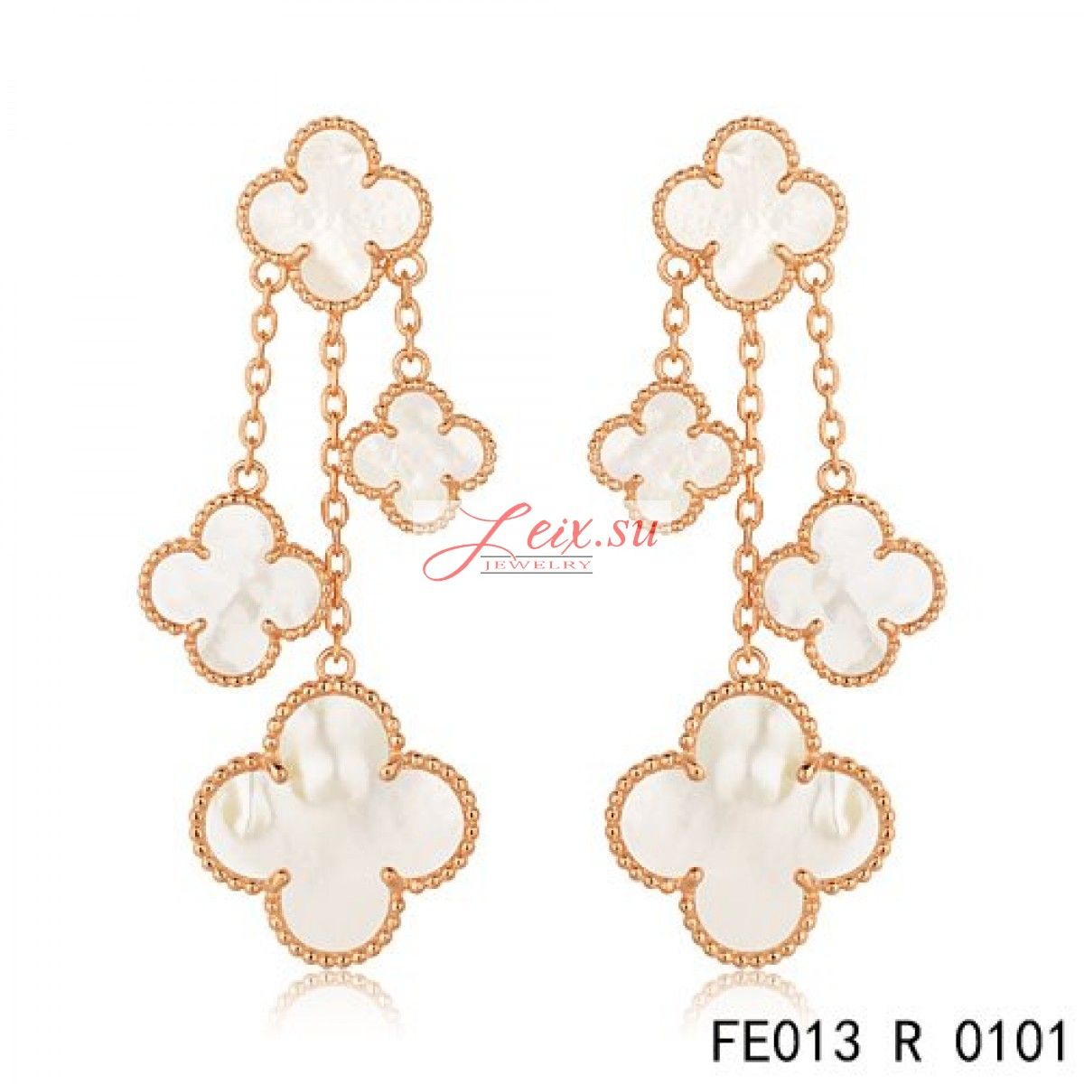 Van Cleef Arpels Replica Pink Gold Magic Alhambra Earrings White Mother Of Pearl 4 Motifs