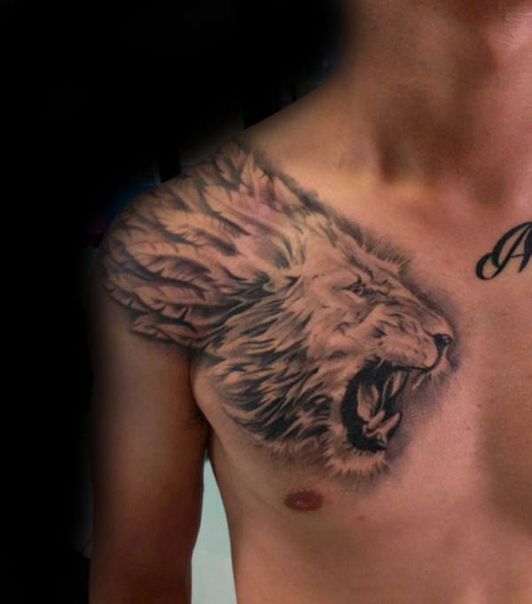 Wings Lion Wings Chest Tattoos For Black Men