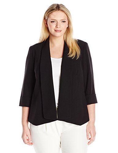 Kasper Womens Plus Size Stretch Crepe One Button Jacket