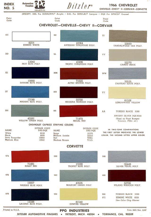 1966 Pg1 Jpg 640 917 Carta De Colores Malibu Autos