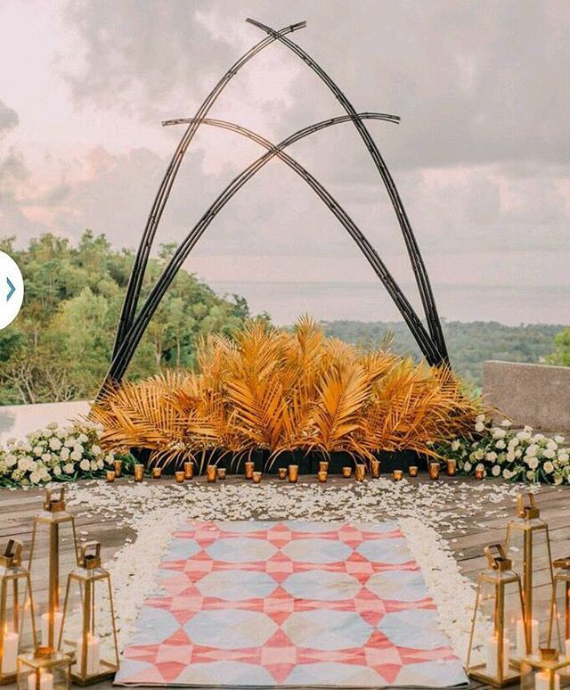 Hindu Wedding Altar: BOHEMIAN Ceremony Arch Gold Black And White