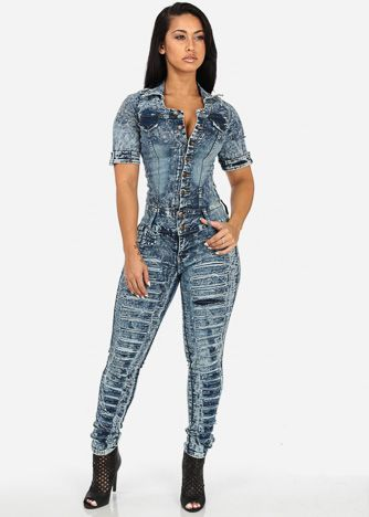 Sleeveless Denim Jumpsuit (Blue Acid Wash) | CLOTHING STYLE ...