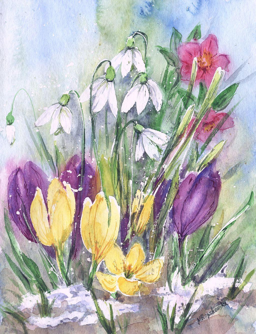 школах садиках рисунки первоцветы весенние очень упругие