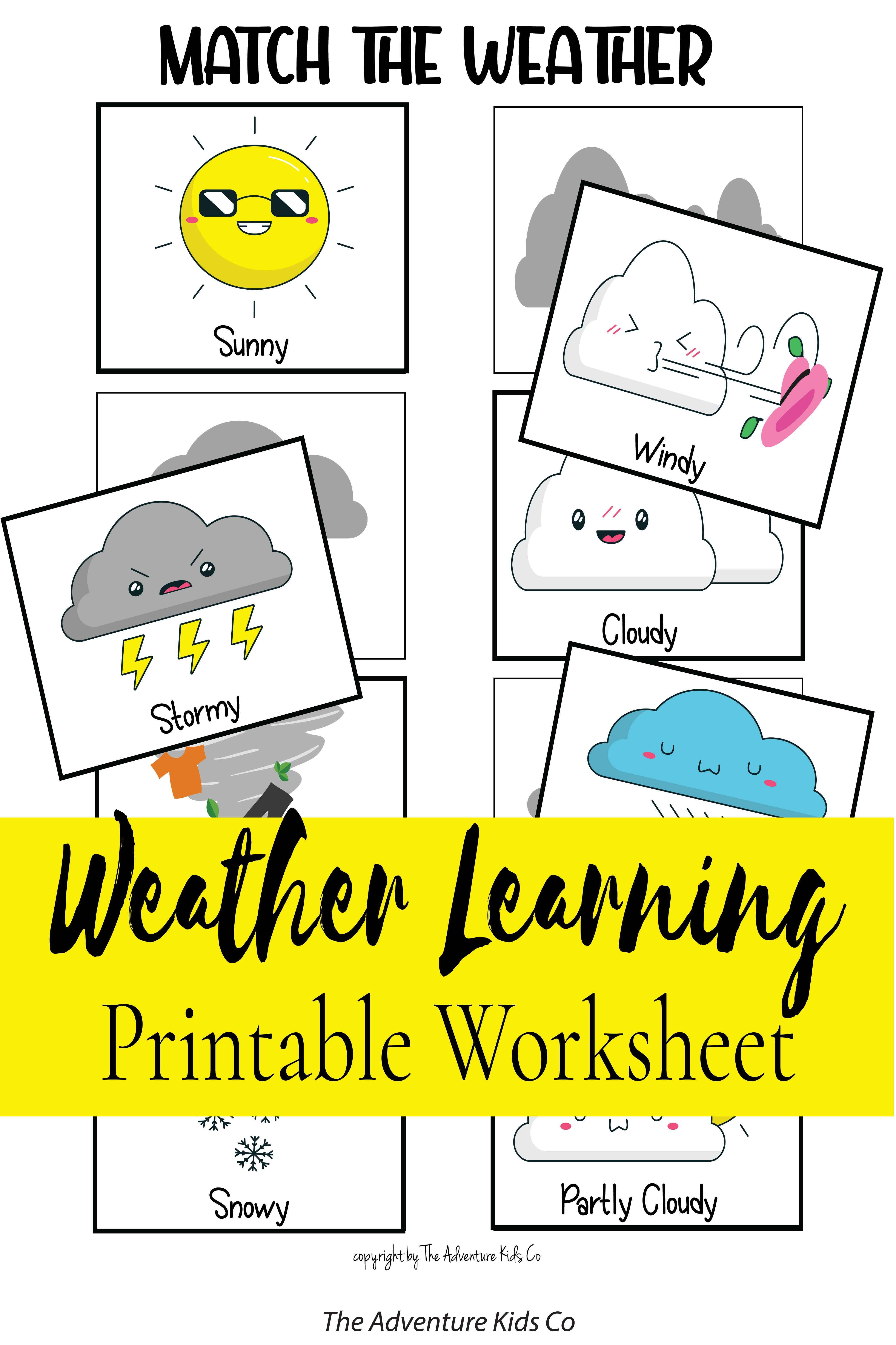 Weather Matching Game For Kids Weather Worksheet Printable
