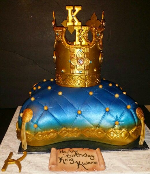 Pillow cake with a crown for a king topper Sistaz Cakes
