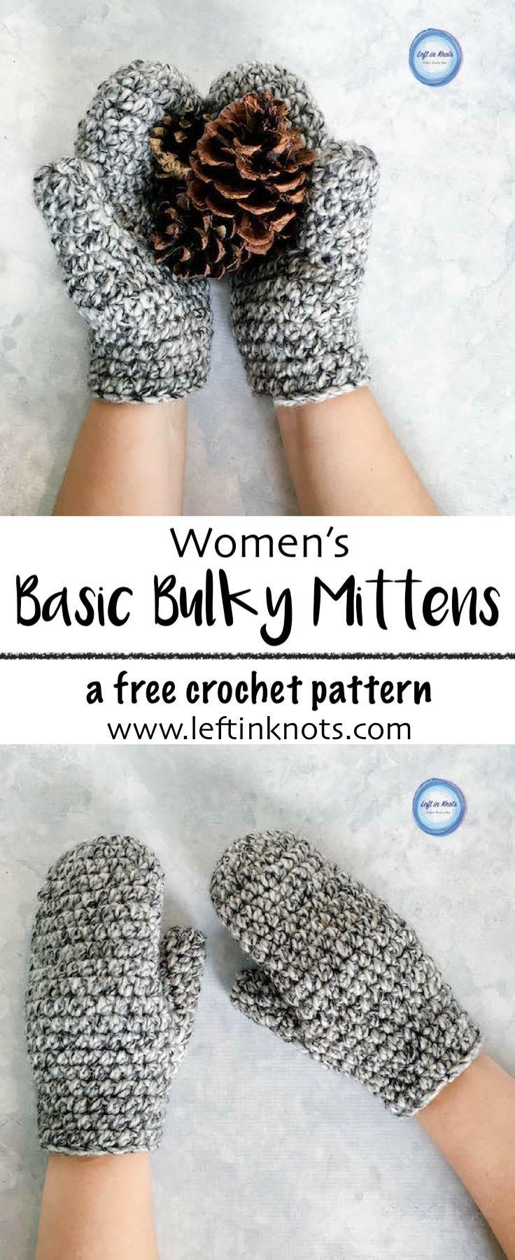 Women\'s Basic Bulky Mittens Crochet Pattern | Guantes, Tejido y Mitones