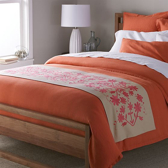 otomi embroidered bed runner | crate and barrel | bedrooms