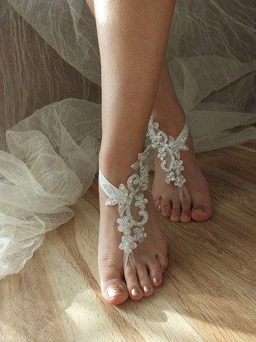 28a3e779f690 ivory silver pearl Beach wedding barefoot sandals