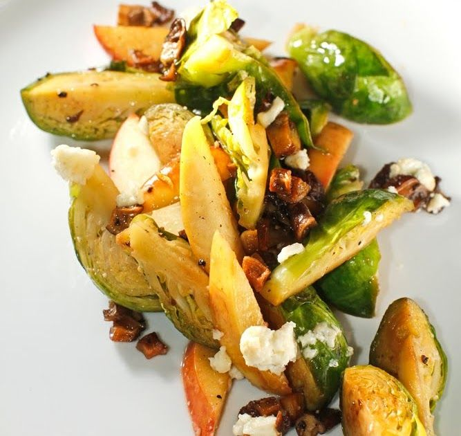 "Warm Brussels Sprouts + Apples w/ Smoky ""Bacon"" Bits"