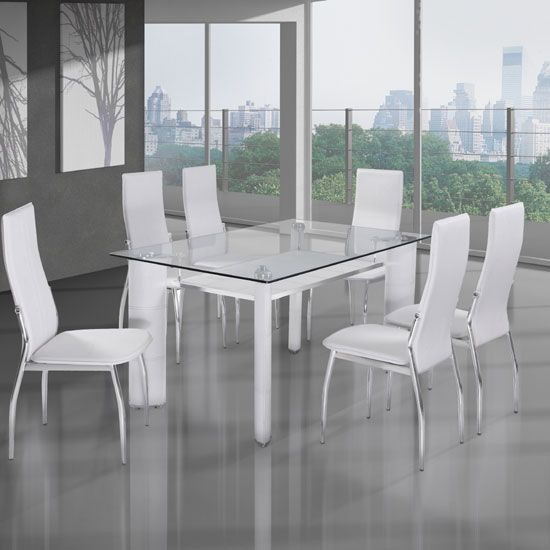 Charrell Clear Glass Top Dining Table With 6 White Chairs | Home ...