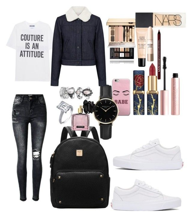 """""""School"""" by madisonkiss on Polyvore featuring Moschino, ROSEFIELD, Victoria's Secret, Givenchy, Too Faced Cosmetics, NARS Cosmetics, Guerlain, Maybelline, Charlotte Russe and Paul & Joe Sister"""