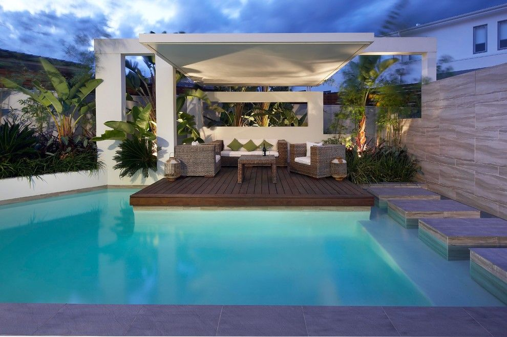 Pool Cabana Ideas Pool Contemporary With Aquatic Awning Covered Deck