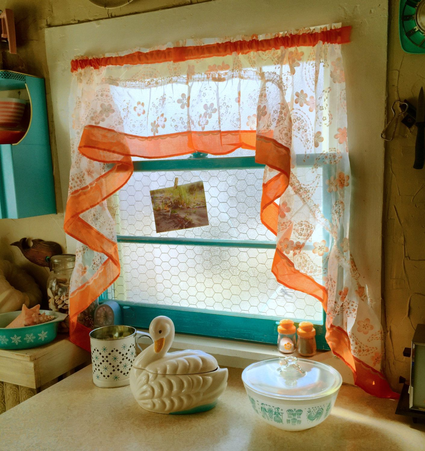 Retro camper curtains - Lovely Vintage Sheer Panel Valence Curtain Perfect For Your Retro Home Or Vintage Camper Sheer Material With Solid Orange Borders And A