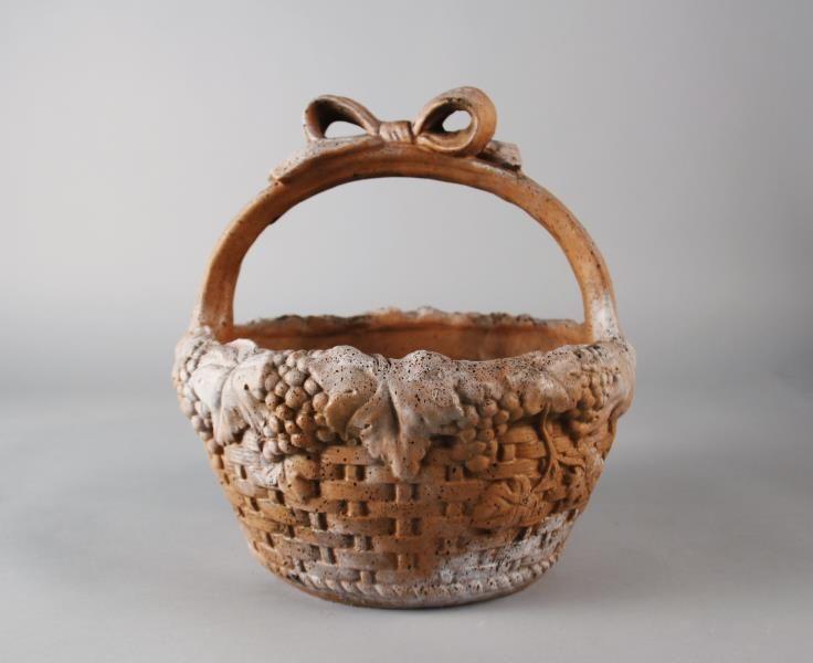 "Orlandi Statuary   Ribbon Basket 12H   Item Number:FS9690 Dimension: 11.0""W 11.0""D 12.0""H Material:Fiber Stone Finish Shown:Autumn Rose #HPMKT"