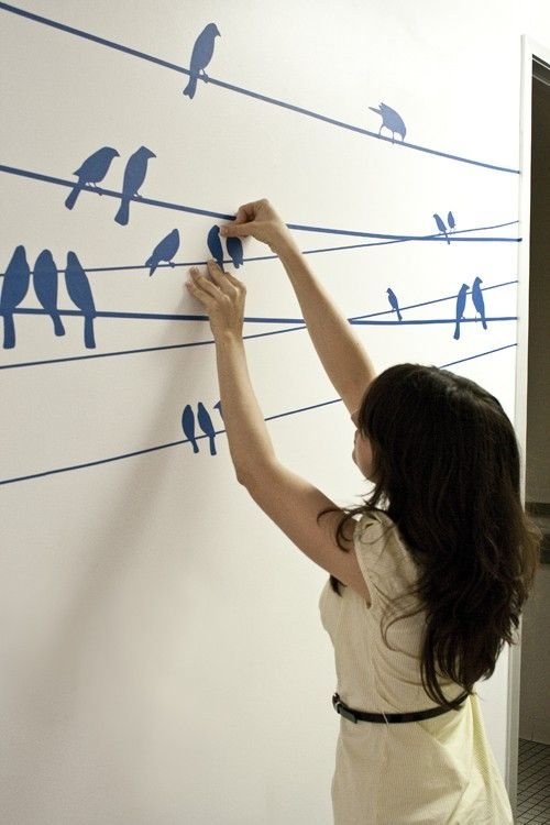 small birds on a wire wall decal, use wallpaperetc. easy diy