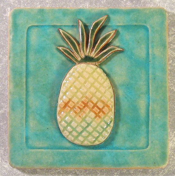 RESERVED for mariaiglesias2 Pineapple Tile 4 x by northfirestudio, $22.00