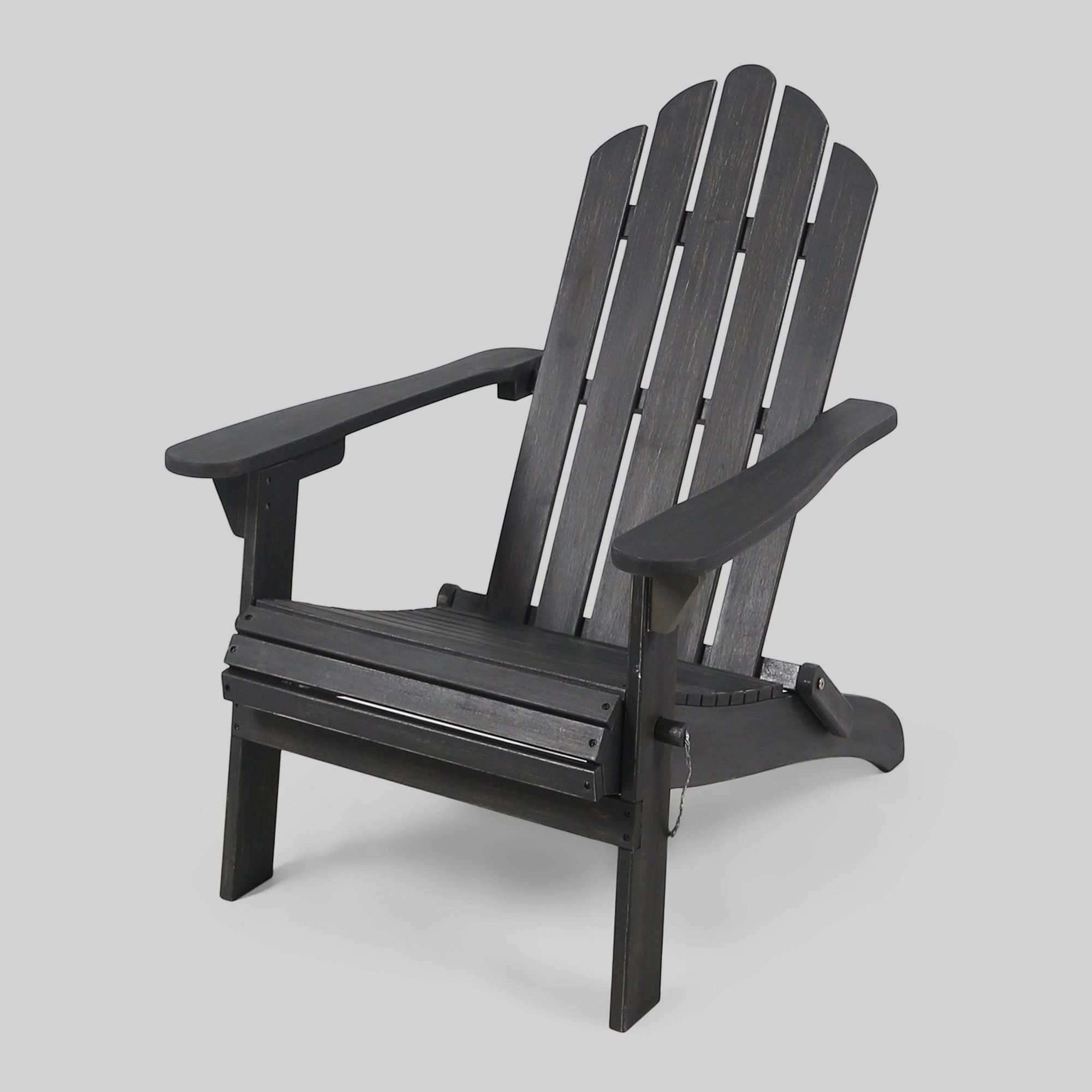 Hollywood Acacia Wood Foldable Patio Adirondack Chair Dark Gray