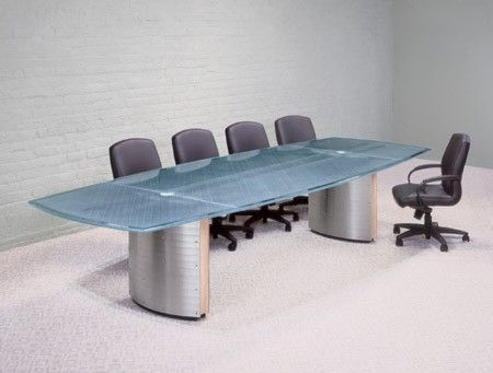 Modern Glass Top Conference Tables, With Integrated Wiring On Textured  Metal Or Wood Pedestals. Large Glass Conference Tables Hand Built To Order  In The USA