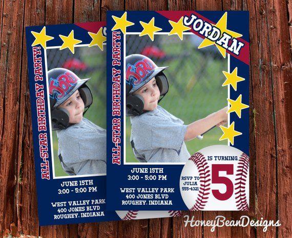 PRINTABLE Baseball Card Birthday Invitation All Star Bat Little League Rookie Photo